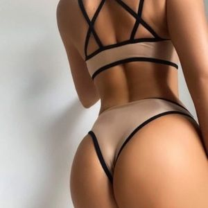 Binding contrast tan and black swimsuit S M